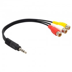 CABLE 3.5MM A 3 RCA HEMBRA
